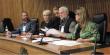 Na mesa, relatores dos grupos de trabalho e presidente do COEPEDE.